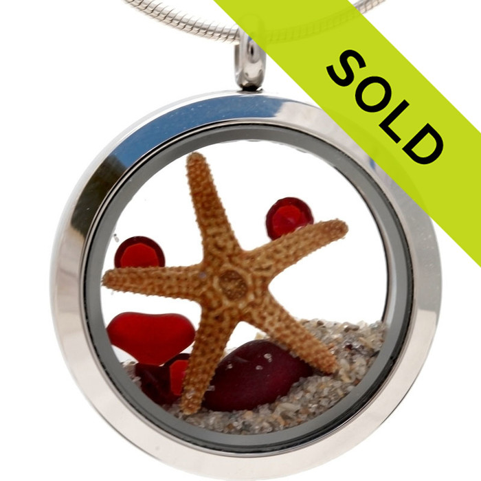 July By The Sea - Genuine Rare Red Sea Glass Locket With Starfish