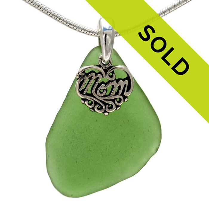 For MOM -Larger Vivid Sea Green Sea Glass With Sterling Mom Charm - S/S Snake CHAIN INCLUDED