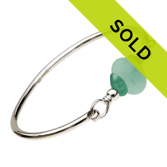 Sorry this sea glass bangle bracelet in silver has been sold!