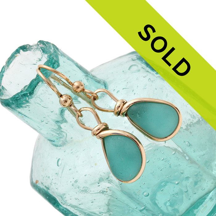 A stunning pair of very desirable aqua sea glass. Sorry this pair has sold!