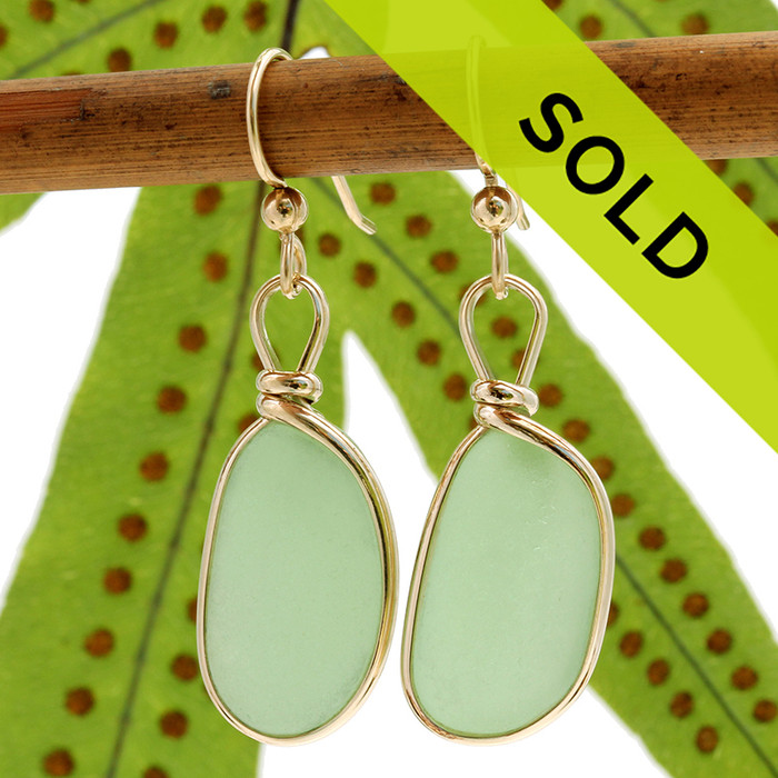 Natural Genuine longer seafoam green sea glass earrings in a 14K Rolled Gold Original Wire Bezel setting. Sorry these sea glass earrings have been sold!