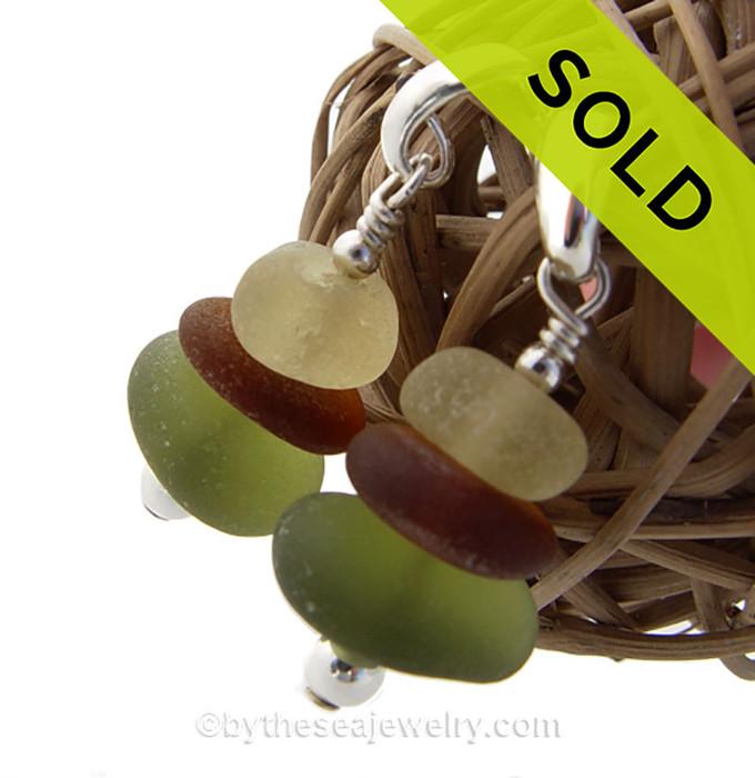 HUGE Triple Stack Sea Glass Earrings In S/S On Posts