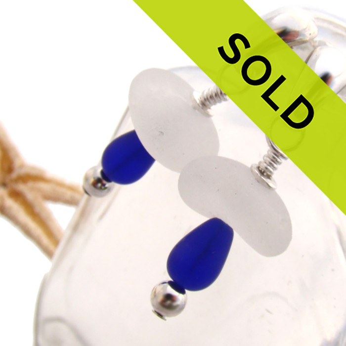Beautiful well frosted pure white or clear sea glass earrings with a punch of color from frosted cobalt teardrop beads or a sophisticated classic look. Sorry this sea glass jewelry selection has been sold!