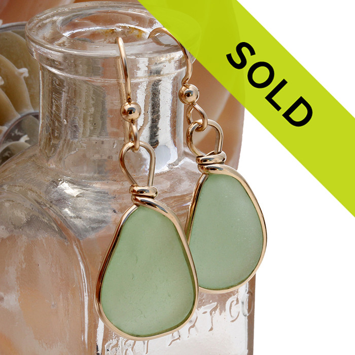 These seafoam earrings in gold bezel have been sold!