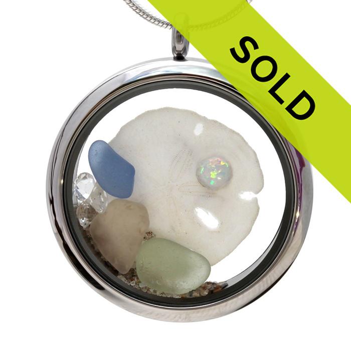 Sorry October Beach Birthday- Genuine Sea Glass Locket With Sandollar & Real Opal  has SOLD