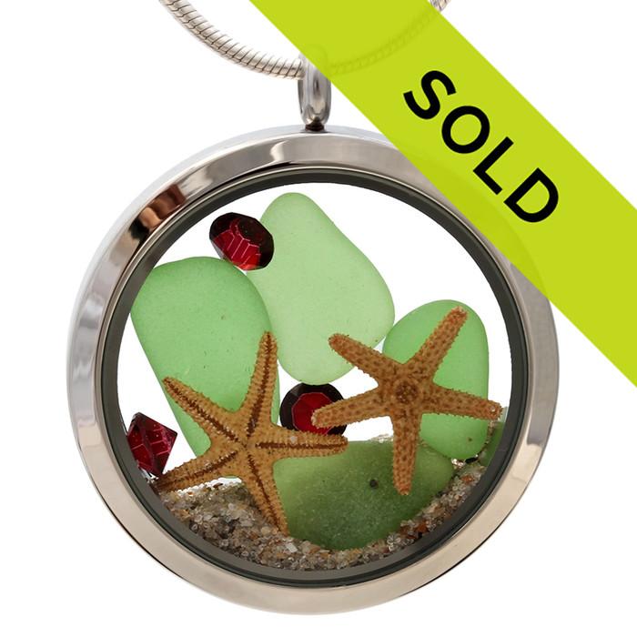 Jumbo You And Me At Christmas -  Green Sea Glass W/ Gemstones & Starfish & Real Sand Locket