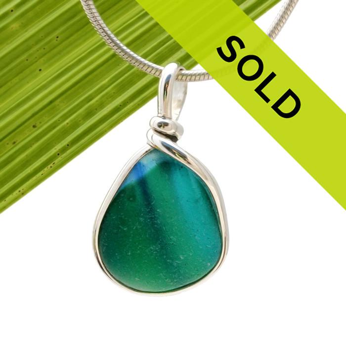 Tropical Rainfall - ULTRA RARE Multi Sea Glass Necklace Pendant In S/S Original Wire Bezel© is no longer for sale!