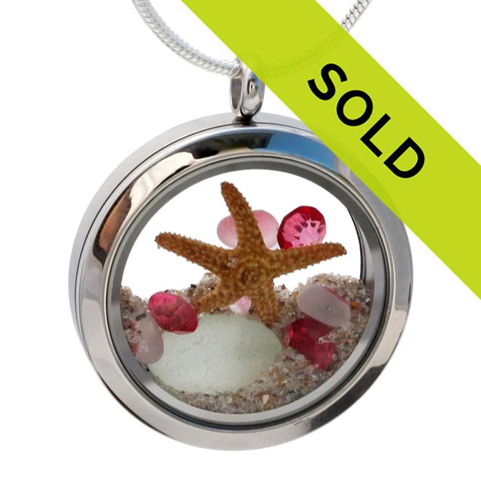 Genuine Sea Glass Locket With Starfish & Gemstones - October Birthstone