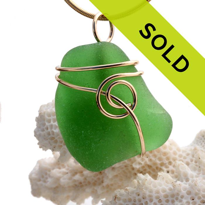 Vivid Green Sea Glass In Sea Swirl Gold Wrapped Pendant