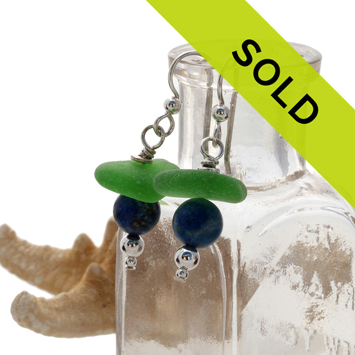 Top quality green sea glass with blue lapis beads. Sorry these sea glass earrings have been sold!