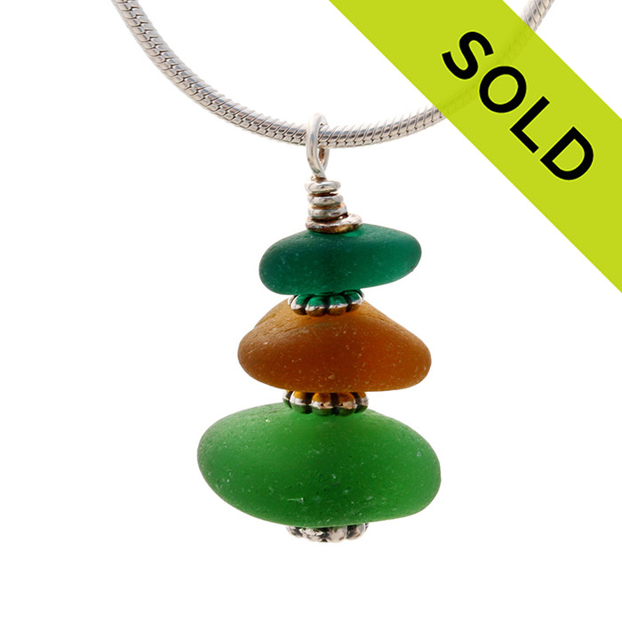 """Vivid Green & Amber English Sea Glass Stack - 18"""" Solid Stelring CHAIN INCLUDED"""