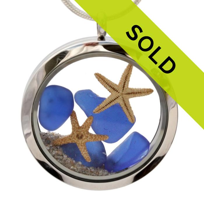 Blue Genuine Sea Glass, Starfish & Beach Sand - 35MM Waterproof Locket Necklace