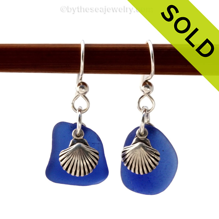 Genuine Beach Found Blue Sea Glass Earrings On Sterling W/ Sea Shell Charms. Sorry this Sea Glass Jewelry selection has been SOLD!