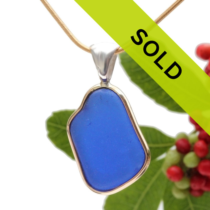 Vivid Blue Sea Glass In Tiffany Deluxe Wire Bezel© Necklace Pendant