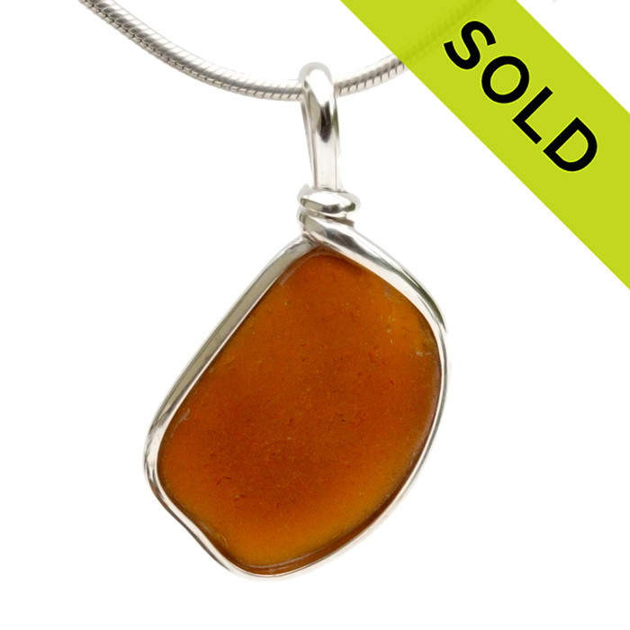 Brown Sea Glass Necklace Pendant In Sterling Original Wire Bezel© A simple beach found sea glass necklace pendant SOLD - Sorry this Sea Glass Pendant is NO LONGER AVAILABLE!