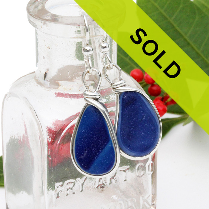 Sorry this sea glass jewelry item is no longer available. A great match in my English Multi Sea Glass Earrings in a vivid mixed blue set in sterling silver. This is EXCEPTIONALLY hard glass to match! ULTRA RARE!!!!