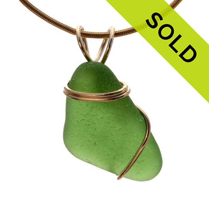 Simple Green Sea Glass Necklace Pendant In Simple14K Rolled Gold Setting