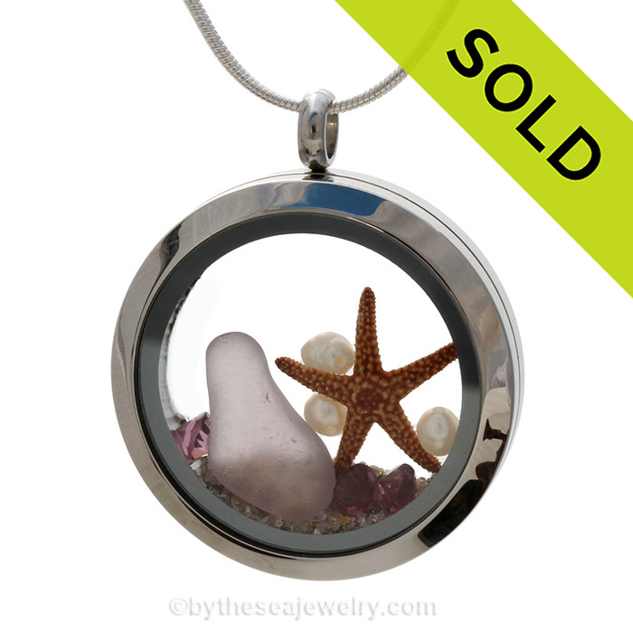 February Beach Party - Rare Purple Genuine Sea Glass Locket With Pearls & Amethyst Gemstones  Great for a February Birthday! Sorry this Sea Glass Jewelry piece has been sold!