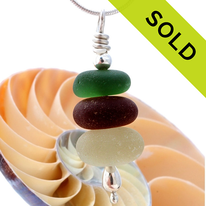 Common colors but SPECIAL this deep green , amber and off white in this English sea glass stacked necklace is TOP QUALITY SOLD - Sorry this Sea Glass Necklace is NO LONGER AVAILABLE!