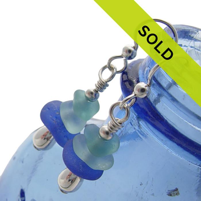Triple Genuine Sea Glass Stack On Sterling