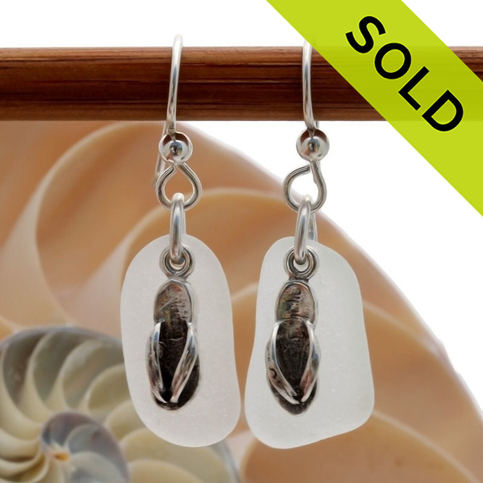 Airy and light pure white sea glass earrings in sterling with sterling flip flop charms!