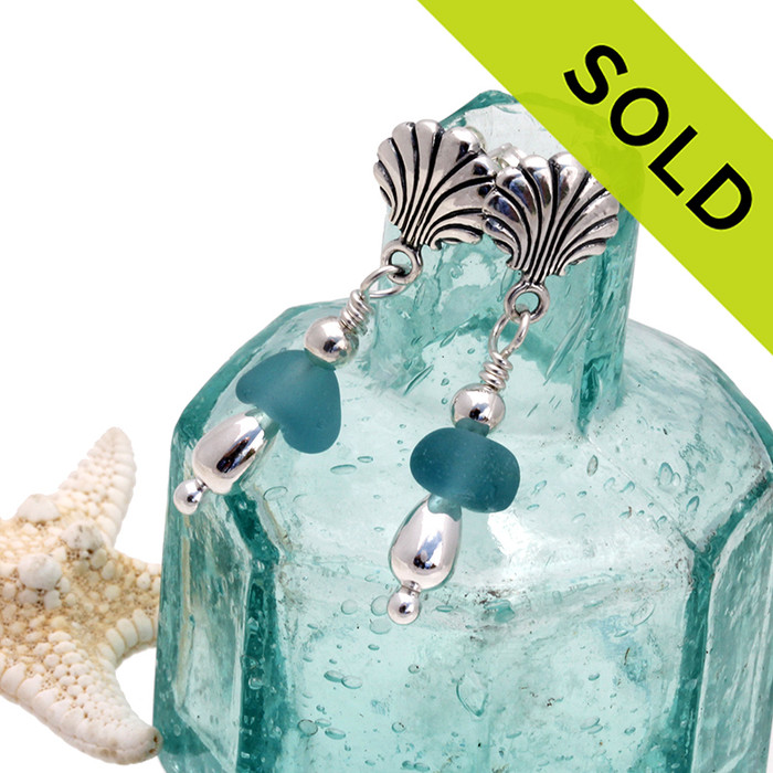 Beautiful aqua sea glass is combined with sterling beads on solid sterling shell posts.  SOLD - Sorry these Sea Glass Earrings are NO LONGER AVAILABLE!