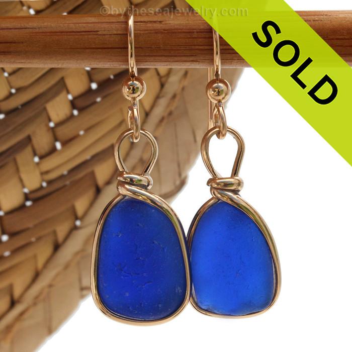 Classic Cobalt Blue Sea Glass Earrings In Gold Wire Bezel©