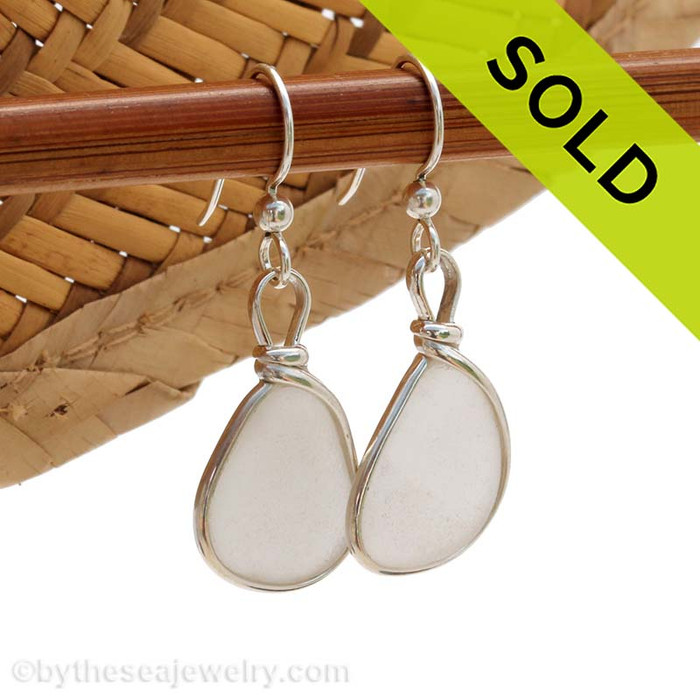Natural UNALTERED white sea glass set in our Original Wire Bezel© setting in solid sterling silver, Sorry this Sea Glass Jewelry selection is no longer available.