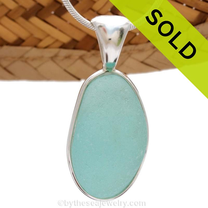 This is a beautiful LARGE Seaham Bright Aqua Sea Glass set in our Deluxe Wire Bezel© pendant setting.  Sold - sorry this Sea Glass Jewelry selection is no longer available.