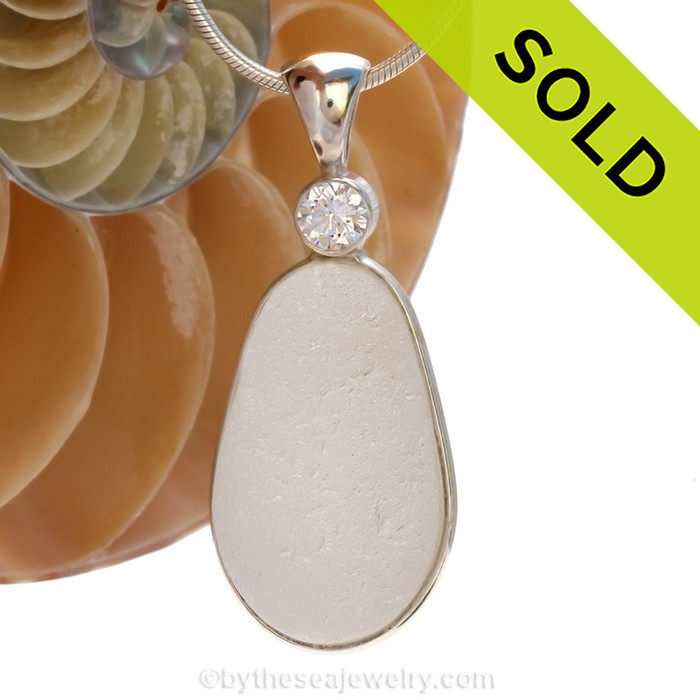 A HUGE piece of top quality pure white English sea glass pendant set with a premium Swarovski gem in a tube bezel setting. SOLD - so sorry this Sea Glass Jewelry selection is NO LONGER AVAILABLE!