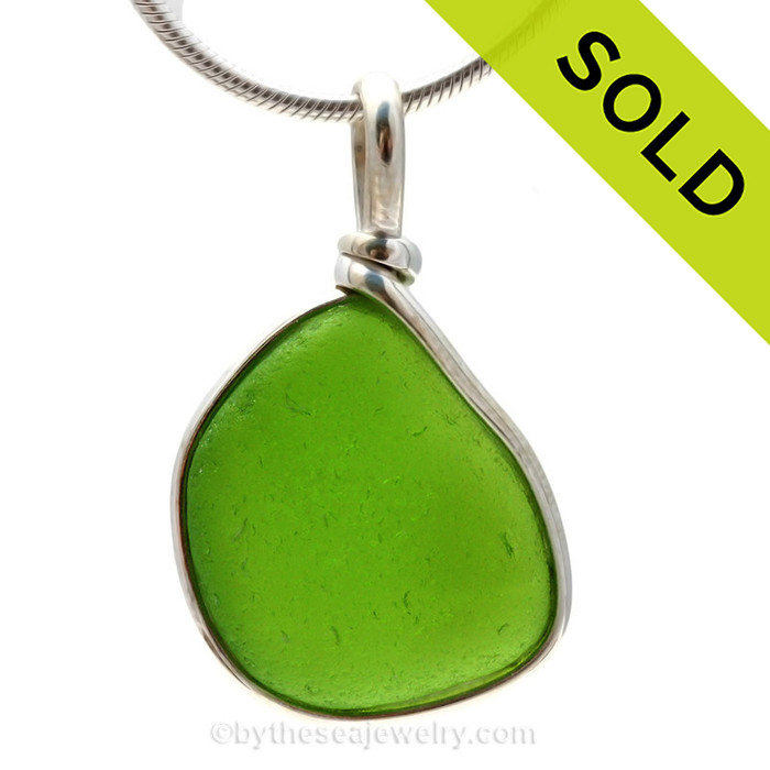 A LARGE and vivid Chartreuse or Electric Lime Green sea glass piece set in our Original Wire Bezel© setting. SOLD - Sorry This Sea Glass Jewerly Selection Is NO LONGER AVAILABLE!