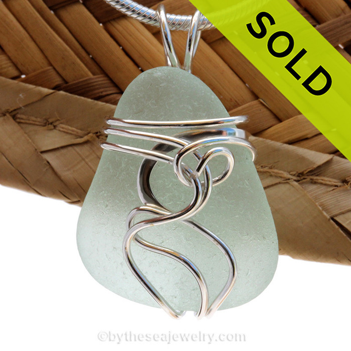 """A beautiful natural seafoam sea glass jewelry set in our original signature """"Squiggles"""" setting in solid sterling silver. Sorry this Sea Glass Pendant has been SOLD!"""