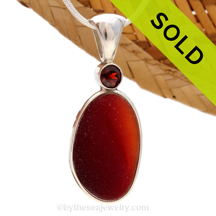 ULTRA RARE VERY LARGE Large Amberina Red English Sea Glass Pendant In Deluxe Wire Bezel Gemstone Setting©