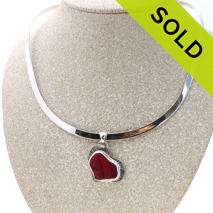 Lines On My Heart - Classic Bezel ULTRA RARE Cherry Red Heart Sea Glass Slide On Sterling Silver Oval Collar