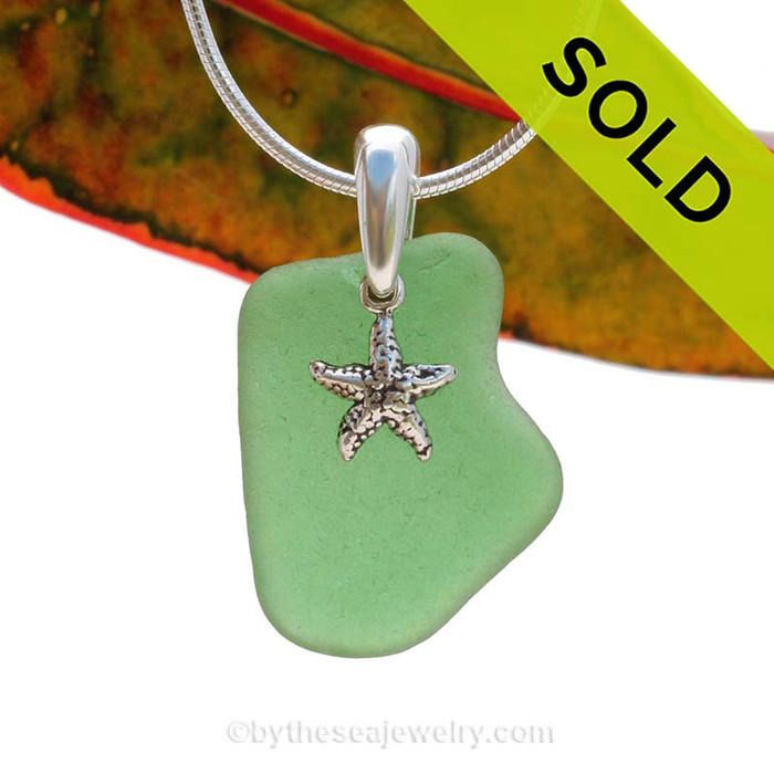 A perfect piece of green sea glass is combined with a solid sterling starfish and presented on an 18 Inch solid sterling snake necklace chain. Sorry this Sea Glass Jewelry selection has been SOLD!!