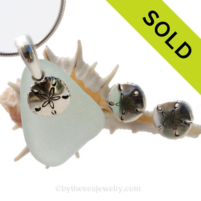 Seafoam Green Sea Glass Set In Sterling Sandollar Charm & Matching Shell Post Earrings