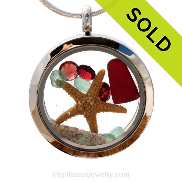 Aqua and ruby red sea glass and genuine garnet and red gemstones make this a great locket necklace for the holidays or a January Beach Lover! Sorry this Sea Glass Jewelry selection has been SOLD!
