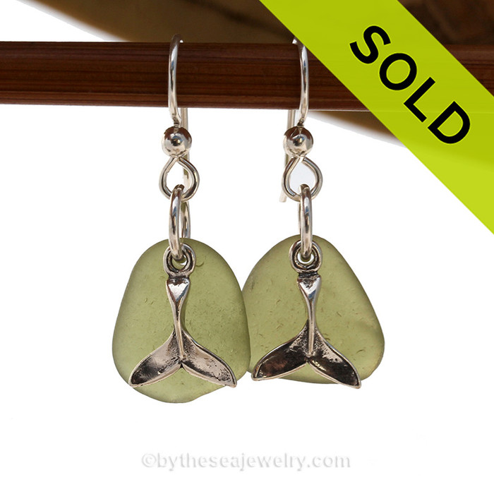 Olive Green Sea Glass Earrings On Sterling W/ Whale Tail Charms