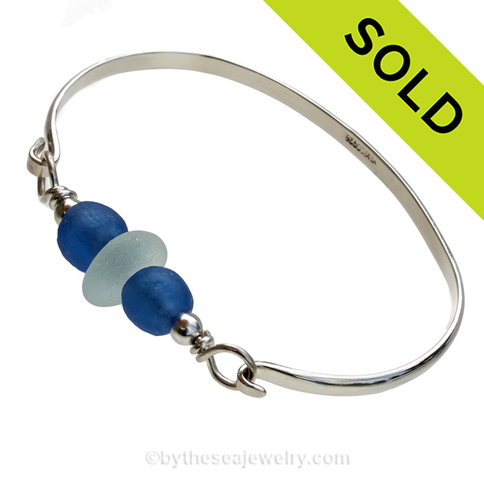 Seafoam Green Sea Glass Sterling Bangle Bracelet With Recycled Blue Glass Bead