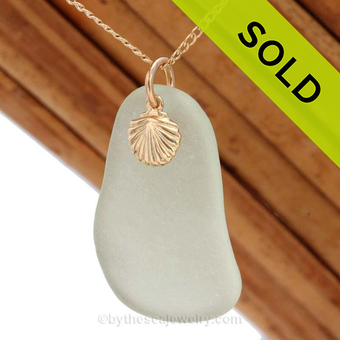 A perfect larger Seafoam Green sea glass necklace is combined with a 14K goldfilled shell charm and comes WITH this 18 Inch 14K Goldifilled curb chain!