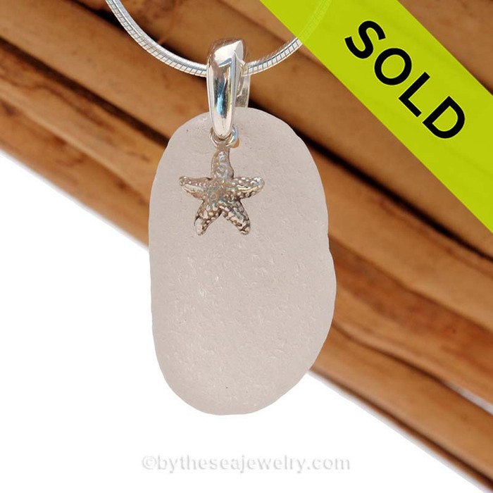 Common but Perfect Larger White sea glass necklace set on a solid sterling cast bail with a sterling silver Starfish charm. SOLD - Sorry this Sea Glass Jewelry selection is NO LONGER AVAILABLE!