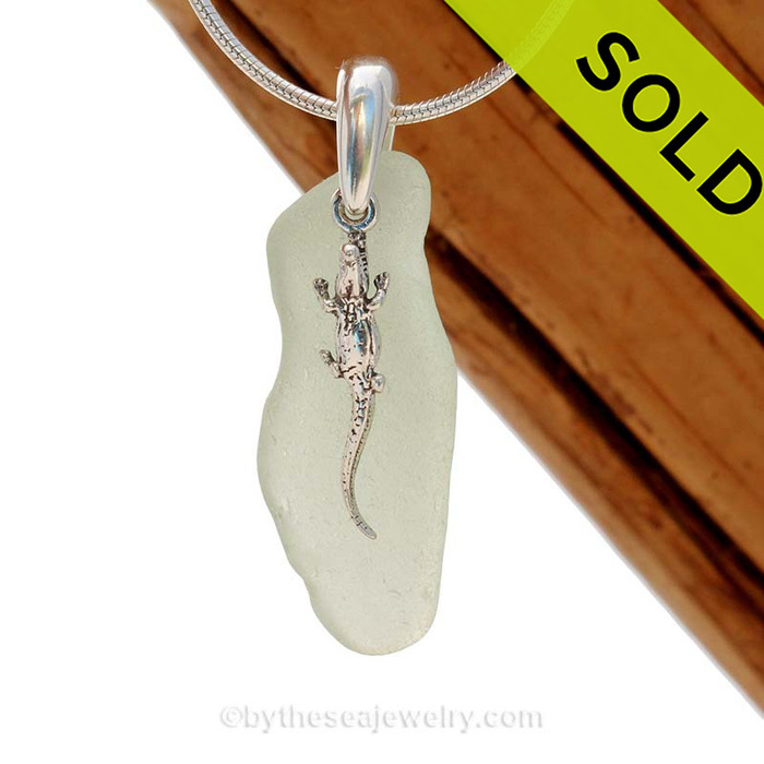 """Long Sliver of Seafoam Green Sea Glass With Sterling Silver Gator Charm - 18"""" STERLING CHAIN INCLUDED. SOLD - Sorry This Sea Glass Jewelry Selection Is NO LONGER AVAILABLE!"""
