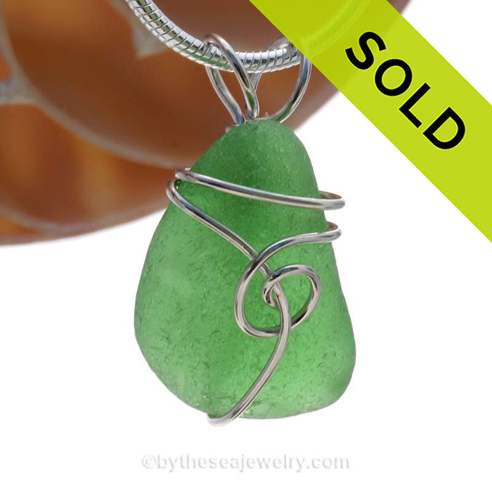 This natural sea glass piece is Vivid Green Genuine Sea Glass In Sterling Sea Swirl Setting Pendant for Necklace. SOLD - Sorry This Sea Glass Jewerly Selection Is NO LONGER AVAILABLE!