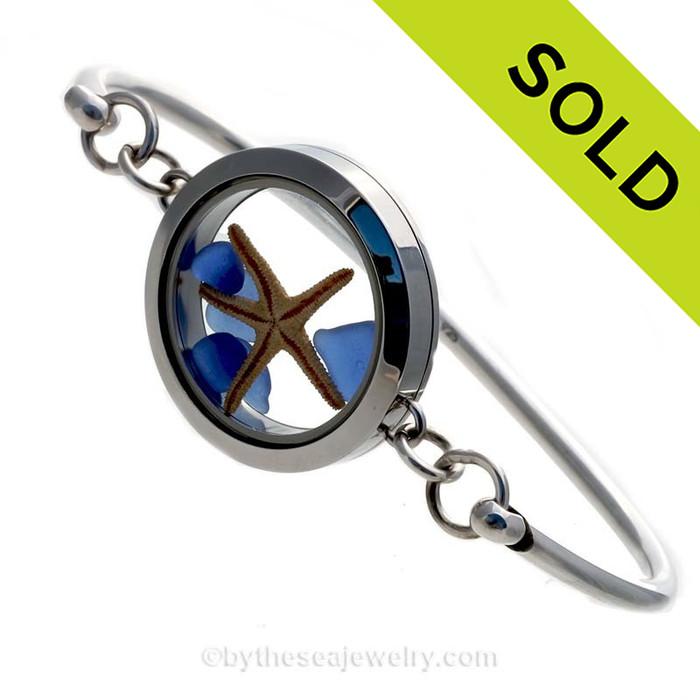 Genuine Sea Glass Locket Bracelet Tiny cobalt blue a real starfish in this one of a kind sea glass bangle bracelet!