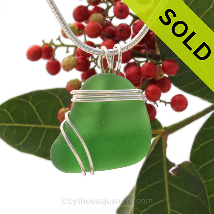 Vivid Large Green Sea Glass In Sterling Triple Wire Necklace Pendant