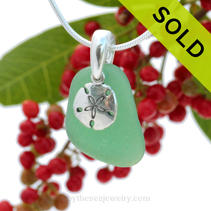 """Emerald Green Sea Glass With Sterling Silver Sandollar Charm - 18"""" STERLING CHAIN INCLUDED"""