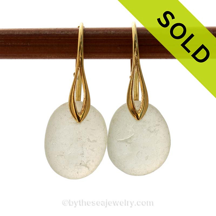 A pair of perfect natural beach found Sea Glass Earrings in a thick seafoam Green on 24K Gold Vermeil Leverbacks. A great pair of earrings for those ladies that like smaller non dangly earrings. Very lightweight!  SOLD - Sorry these Sea Glass Earrings are NO LONGER AVAILABLE!