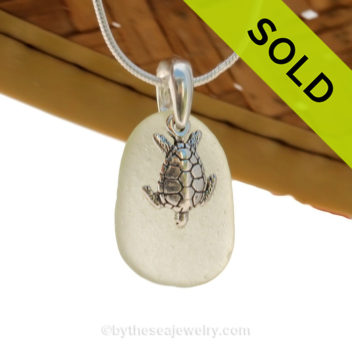 Pale Sea Green sea glass set on a solid sterling cast bail with a sterling silver Sea Turtle charm. SOLD - Sorry this Sea Glass Necklace is NO LONGER AVAILABLE!