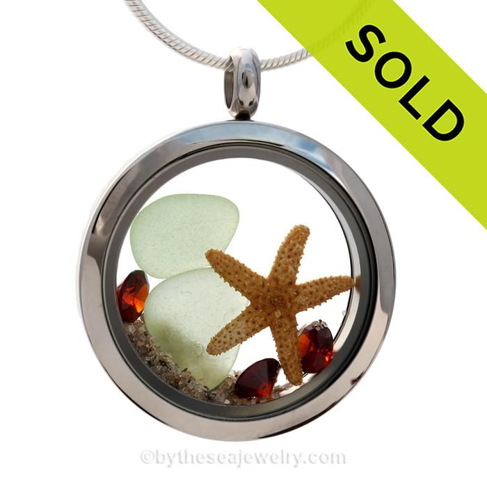 Seaside Celebration - Seafoam Green Genuine Sea Glass With Starfish & Crystal Garnet Gems - January Birthstone