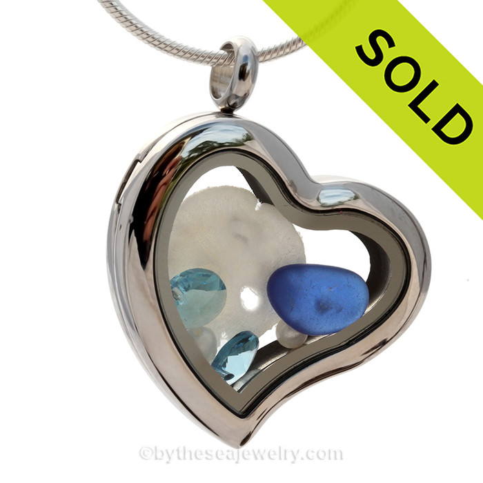 Cobalt Blue Genuine Beach Found  Sea Glass combined a silver Heart Locket necklace with Sandollar, Pearls and Aquamarine Briolette Crystal Gems